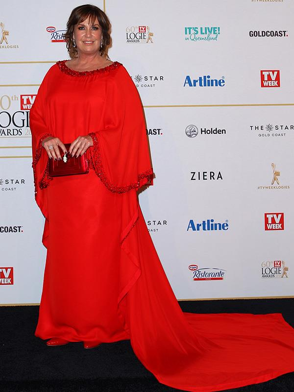 Gold Logie nominee Tracey Grimshaw classy as ever on the red carpet.