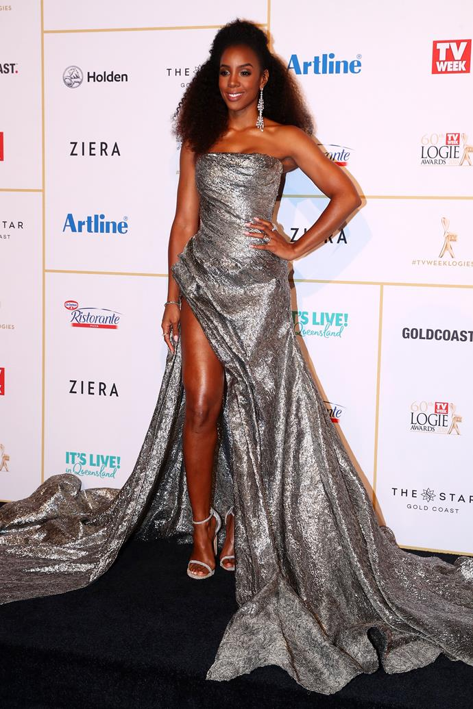 **Kelly Rowland**  As one of *The Voice Australia*'s judges, Kelly took along this season's winner, Sam Perry, Kelly took to the Logies stage to sing