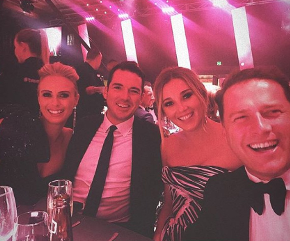 Karl and Jasmine cosying up for selfies with his brother, Peter Stefanovic, and Sylvia Jeffreys.
