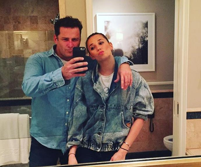 "The couple who dress together! ""Football on. Kids in bed. Double denim. Doesn't get any better,"" Karl said while sharing this goofy bathroom selfie."