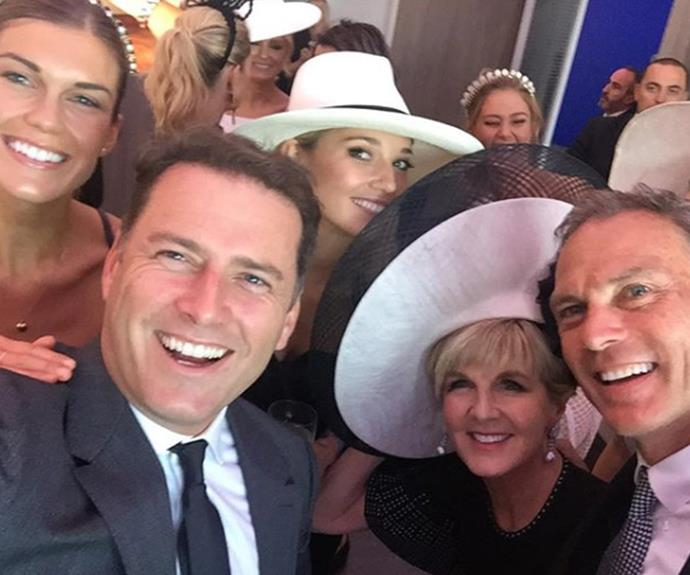 The gang's all here! Karl and Jasmine enjoy a day at the races with Julie Bishop.