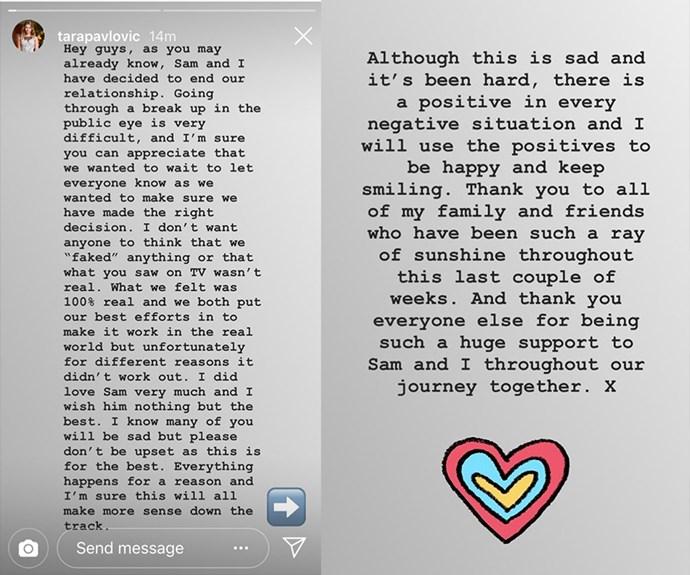 Tara's Instagram statement (yep we saved it).
