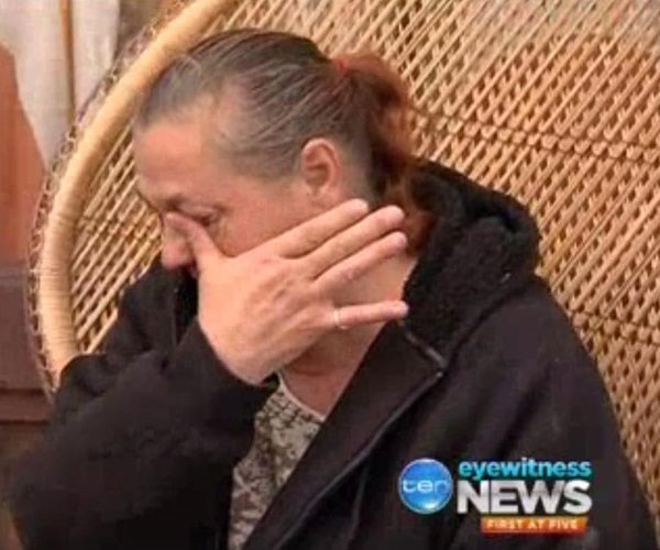 Margaret crying on TV. Credit: Channel Ten news