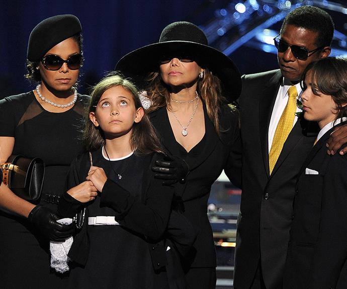 Janet supported Paris at Michael Jackson's funeral in 2009 (pictured with with LaToya Jackson, Jermaine Jackson and Prince Michael I).
