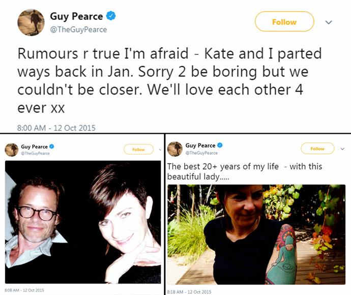 Guy announced his separation from his first wife via *Twitter* in October 2015.