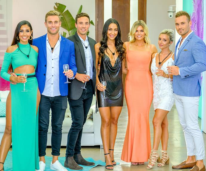 The final couples, Amelia and Josh, Grant and Tayla, Erin and Eden and *Love Island* host Sophie Monk.