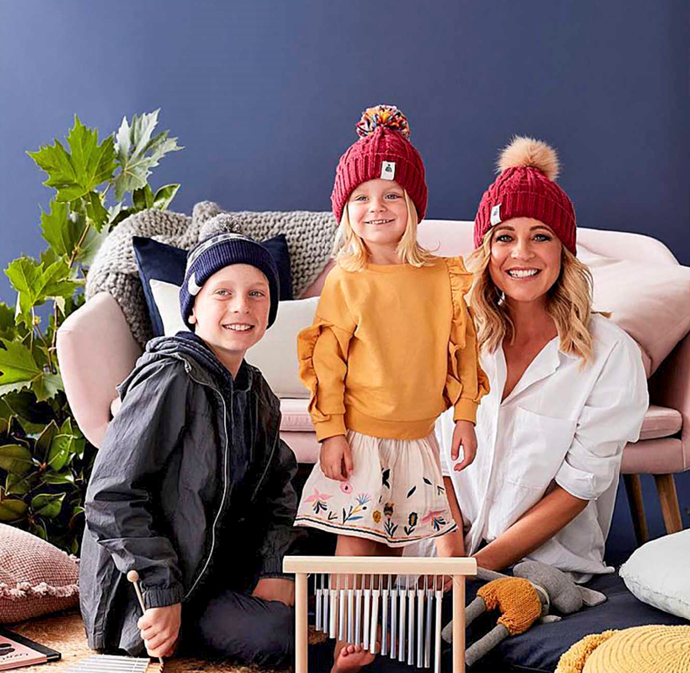 Carrie with her son, Ollie, and daughter, Evie, promoting Carries Beanies 4 Brain Cancer.