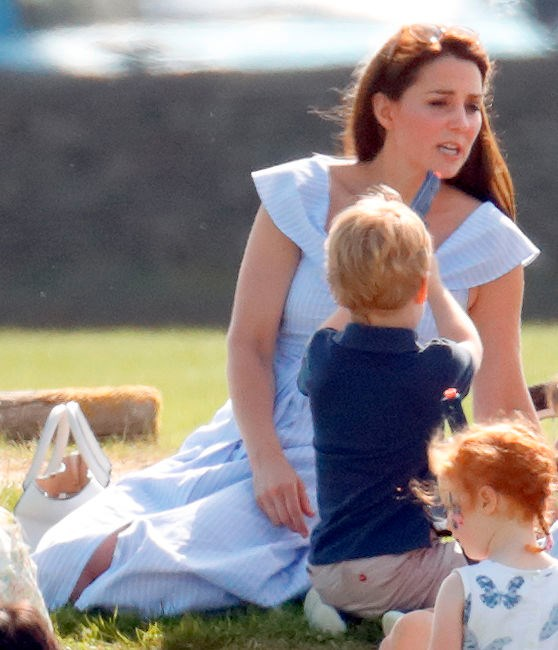 Prince George playing with a toy gun at Beaufort Polo Club last month sparked discussions on gun play. Image: Getty Images.