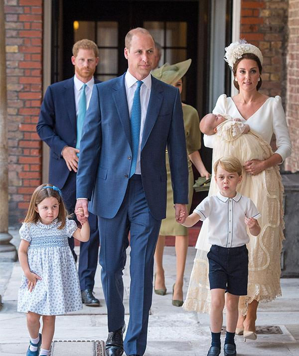 What a beautiful family! The Cambridges arrive for Prince Louis' christening.