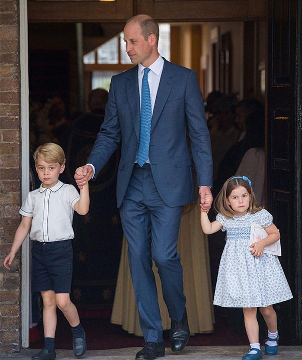 Prince William escorts George and Charlotte out of the ceremony.