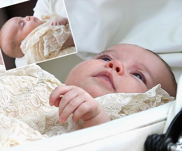 Can you guess which is which? Prince Louis is in the top right hand corner and Princess Charlotte, pictured at her 2015 christening, is the main image.