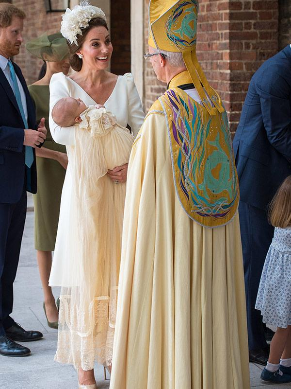 The 11-week-old tot seems very peaceful as mum Kate chats to the Archbishop of Canterbury.