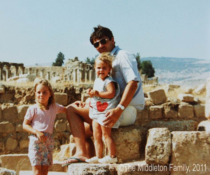 A young Kate Middleton (left) with her dad and sister Pippa.