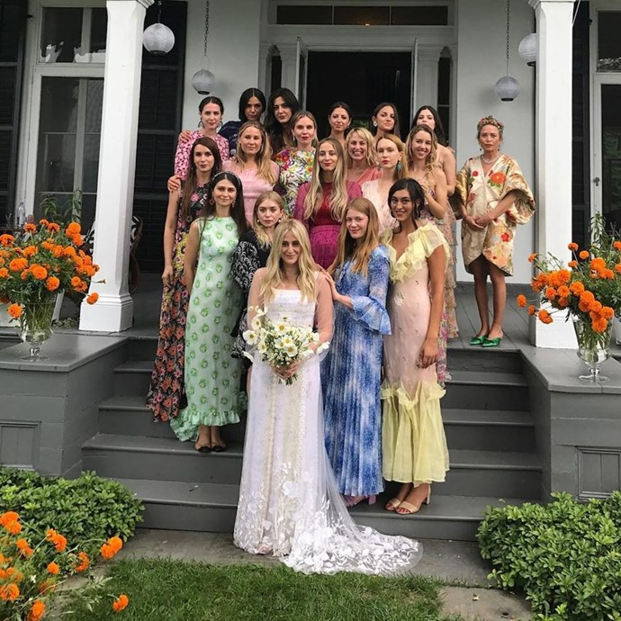 Spot the celebrity bridesmaid(s)! If you look closely, Mary-Kate and Ashley Olsen stand among 18 of their pals' bridesmaids, all of whom were allowed to wear whatever dress they liked, as long as it kept with each individual bridesmaids' own personal style.