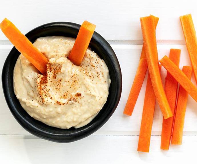 Carrot sticks with 3 tbsp hummus. **150 calories**.