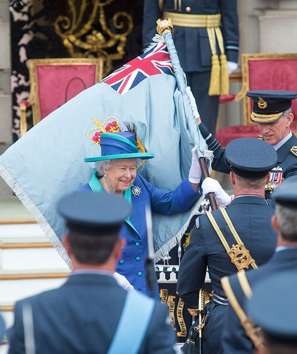 Queen Elizabeth flies the flag.