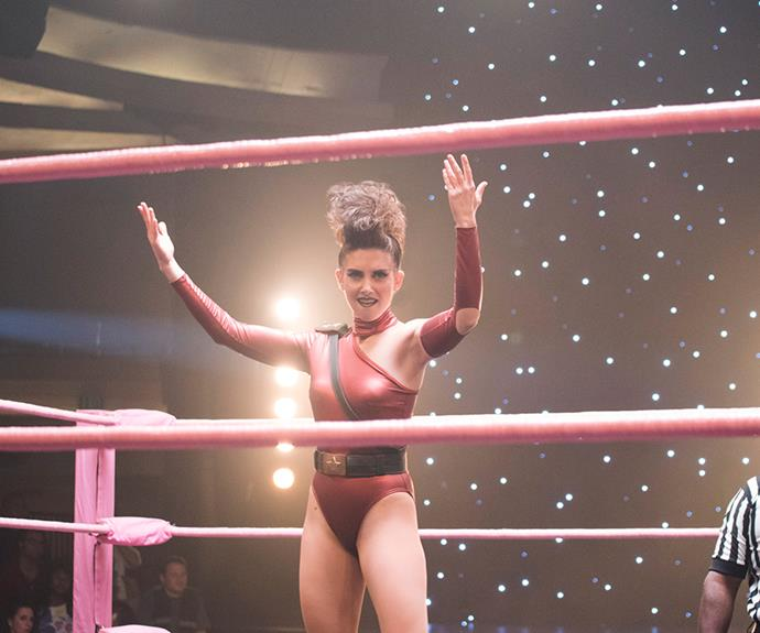 The Netflix series *GLOW* follows super-fit female wrestlers.