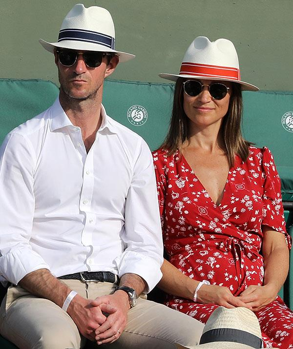 "Father-to-be James Matthews, [who Pippa married last May,](https://www.nowtolove.com.au/royals/british-royal-family/pippa-middleton-marries-james-matthews-37442|target=""_blank"") sported a matching hat."