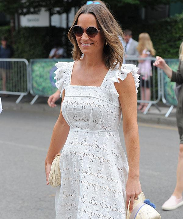 Pippa's dress was a bespoke Broderie Anglaise Bergman creation by designer Anna Mason, which she finished off with a pair of Valenciana espadrilles from Penelope Chilvers.