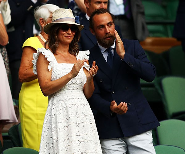 Embracing the British summer, Pippa hit up Wimbledon again with her brother James Middleton in this embroidered white sundress.