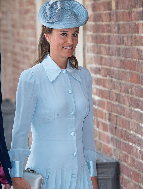 Just this week the expectant mum oozed elegance in this baby blue (a hint, perhaps!) pleated frock by Alessandra Rich.