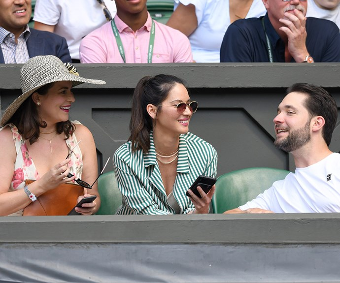 Actresses Cara McConnell and Olivia Munn sit with Mr Serena Williams, Alexis Ohanian.