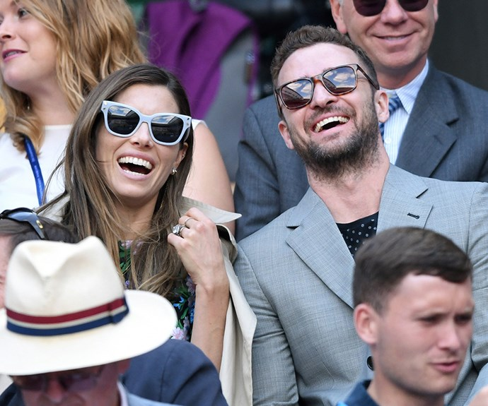 Jessica Biel and Justin Timberlake have a ball on day eight of the Wimbledon.