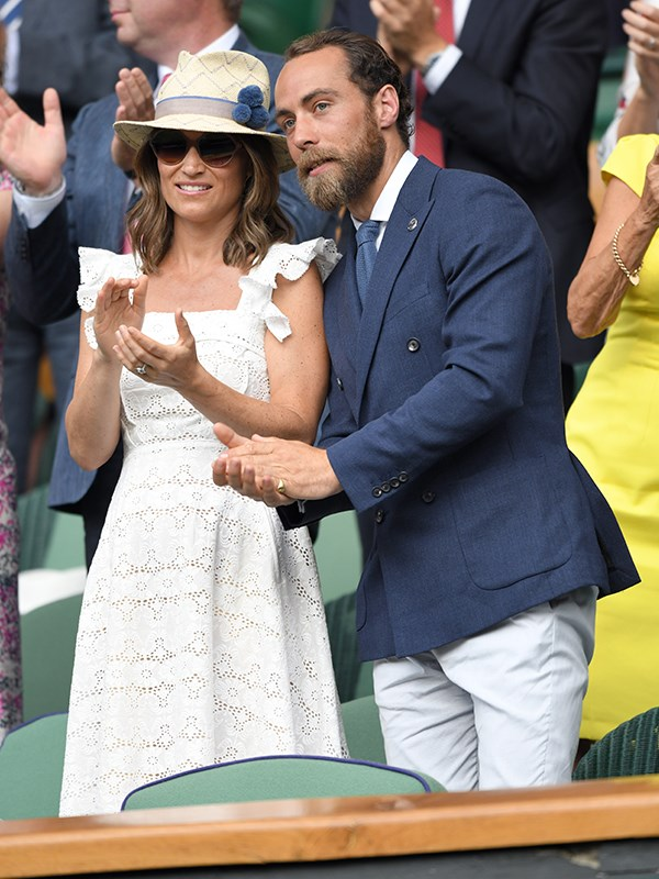 Pregnant Pippa Middleton and her brother James cheer on the champions.