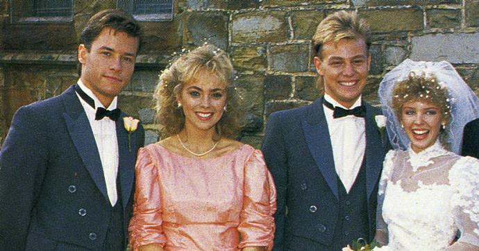 Guy, Annie Jones, Jason, and Kylie fim *Neighbours* iconic Charlene and Scott wedding episode.