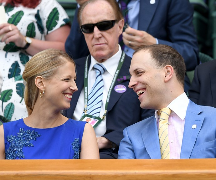 """Lady Gabriella """"Ella"""" Windsor, the daughter of Prince and Princess Michael of Kent, and Lord Frederick Windsor sit in the royal box."""