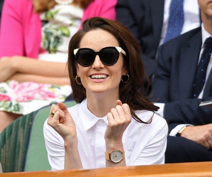 *Downtown Abbey*'s Michelle Dockery was on the edge of her seat during day eight of the tennis championship.