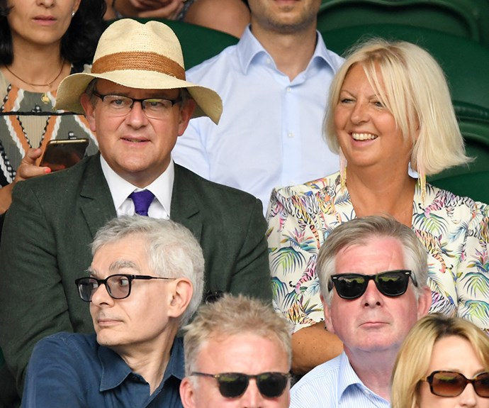 A little fun in the sun for *Downtown Abbey*'s : Hugh Bonneville and his wife Lulu Evans.