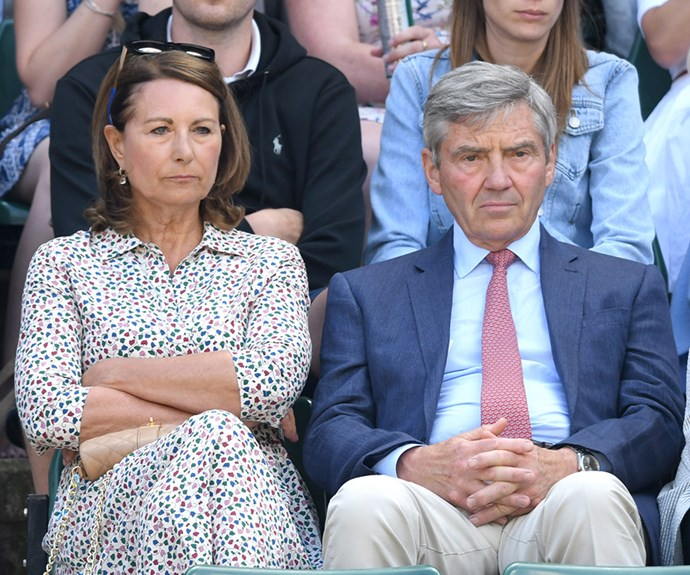The Middleton's love their tennis! The Duchess of Cambridge's parents, Carole and Michael, look tense during day nine of Wimbledon.