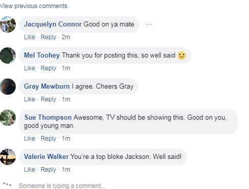 The comments are rolling in on Jakson's Facebook video.