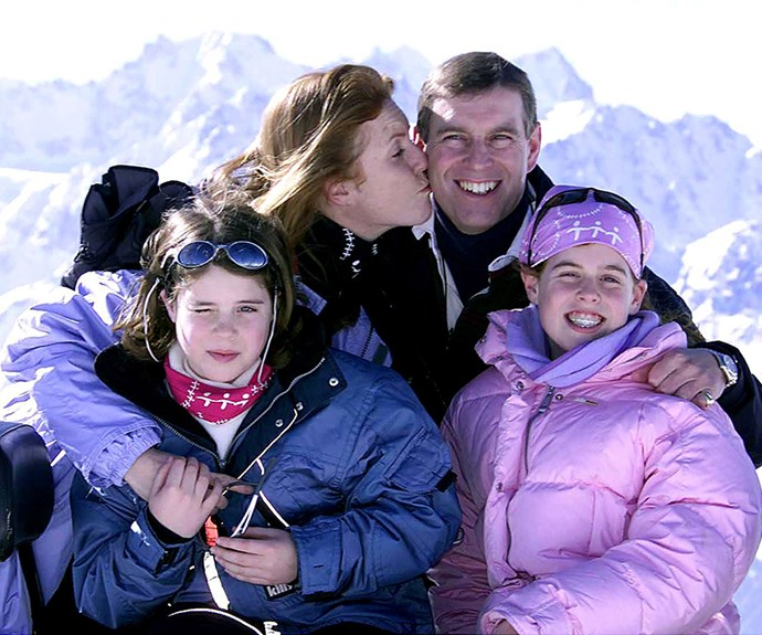 The York family holidaying on the ski slopes of Verbier, Switzerland.