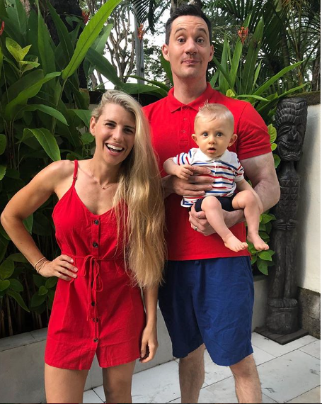 Tiffiny Hall, Ed Kavalee and baby Arnold dressed al 'matchy matchy' for a breakfast buffet trip on holidays.
