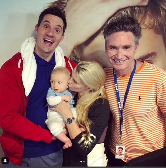 Tiffiny Hall and baby Arnold hanging with Dad, Ed Kavalee and Dave Hughes at work.