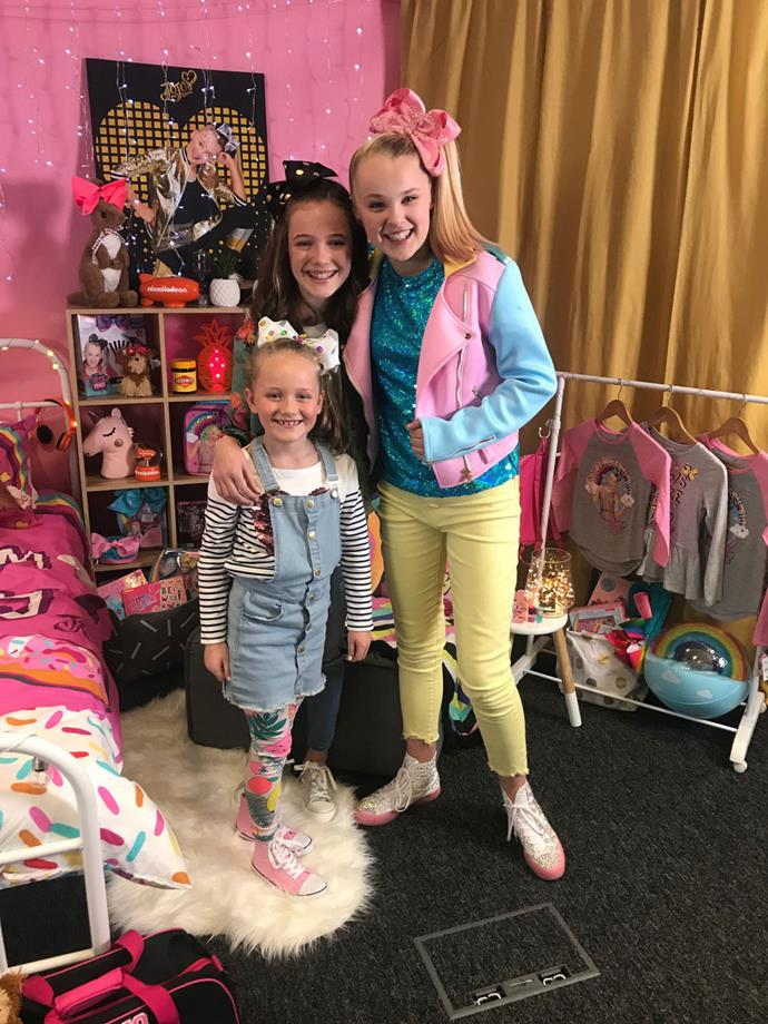 ***TV WEEK*** reporters Mabel, front left, and Harper, middle, with JoJo Siwa.