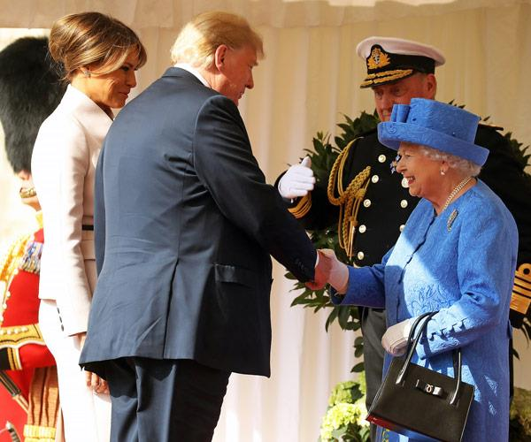 Her Majesty is formally introduced to President Trump and the First Lady.