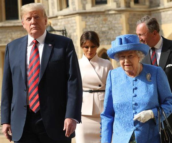 The Queen hosted the President and his wife.