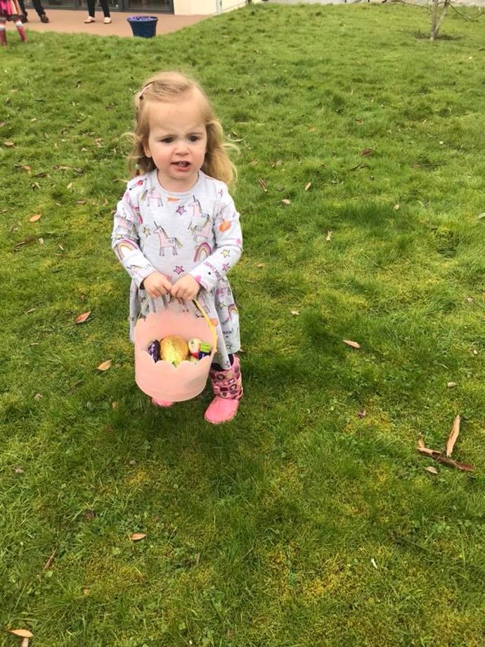 Jessica, pictured here, at an Easter egg hunt. **Facebook: twinsmylifeupsidedowns**