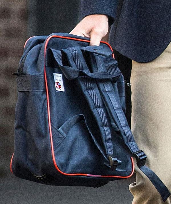 "Can you spot it? The label on the royal's school bag reads ""George Cambridge."""