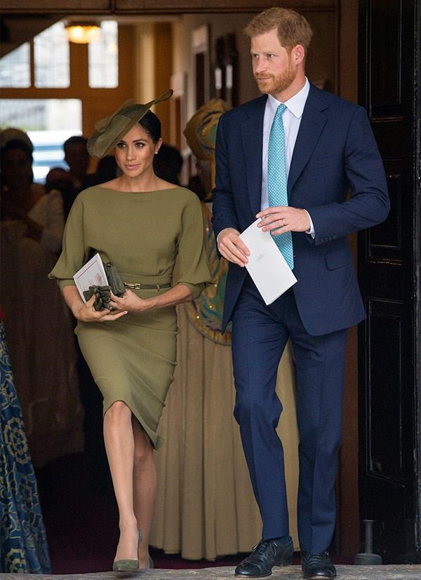 "Meghan seemingly missed the light blue/pastel/cream memo to Prince Louis' Christening opting to wear an olive green Ralph Lauren outfit instead. However, there was apparently a [secret meaning](https://www.nowtolove.com.au/royals/british-royal-family/why-meghan-markle-wore-green-to-prince-louis-christening-49934|target=""_blank""