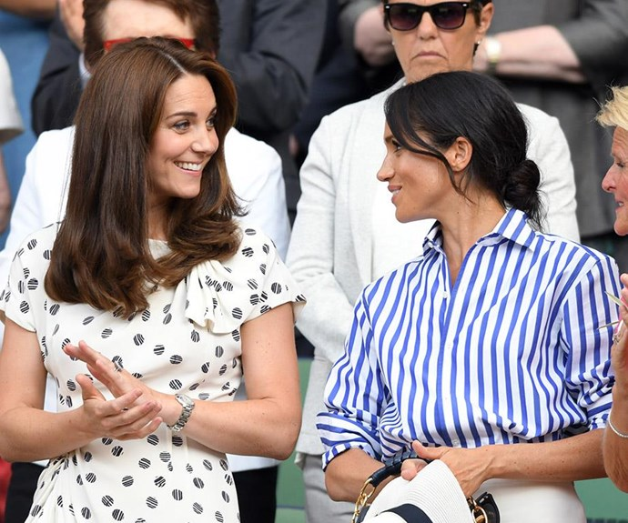 "Not only was Meghan's outfit for her first solo outing with sister-in-law Kate impossibly chic but might even have a hidden meaning. The Duchess wore a crisp button-down blue and white striped shirt and white wide-led pants from Ralph Lauren. In 2016, Meghan attended Wimbledon as a guest of the American label reportedly even when their mutual friend, Violet von Westenholz, told Meghan about Harry and Megan infamously asked ""Is he nice?"". So Meghan was possibly wearing Ralph Lauren as love letter/outfit to her husband. *Swoon!*"