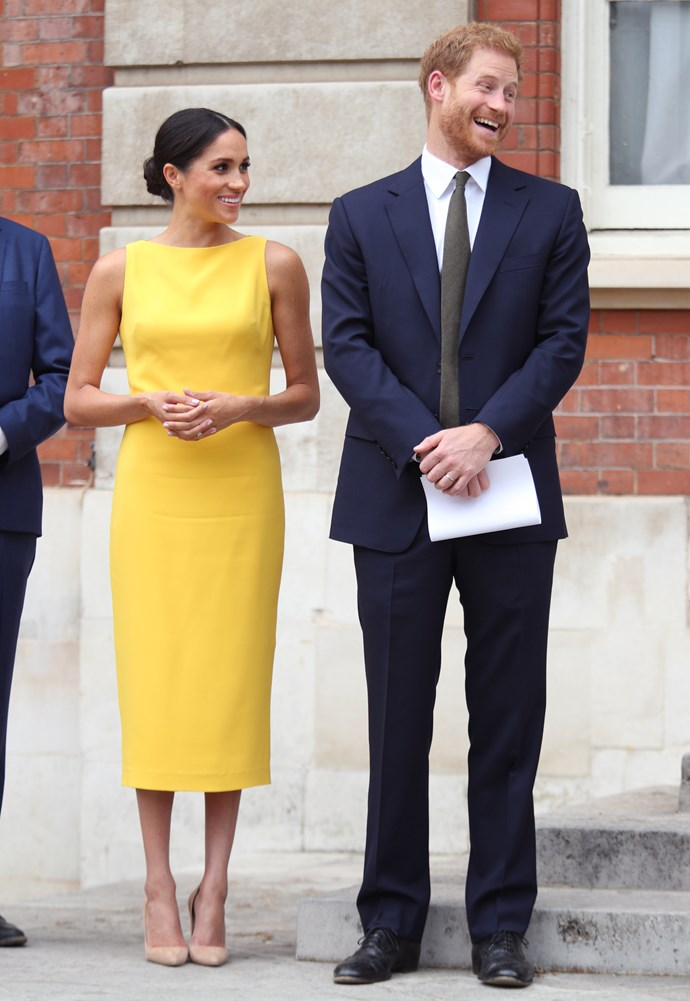 Meghan who up until this point had only been wearing neutral colours post the wedding, threw a curve ball with her canary yellow dress. Perhaps in a nod to her motherland's 4th of July celebrations, she chose to wear American designer Brandon Maxwell's creation to the Your Commonwealth Youth Challenge reception at Marlborough House in London. She accessorised the high, straight neckline, no sleeves and shin-grazing hem dress with her now iconic Manolo Blank 'BB Pumps' in nude suede and a pair of diamond earrings by Adina Reyter, looking a dream from head to toe.