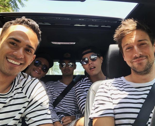 *Nashville* star Micah Tootoo and *Neighbours* star John Harlan Kim hang with *H&A's* Christian Antidormi, Jordan Rodrigues, and Lincoln Younes. The gang coordinated in matching stripe tees.