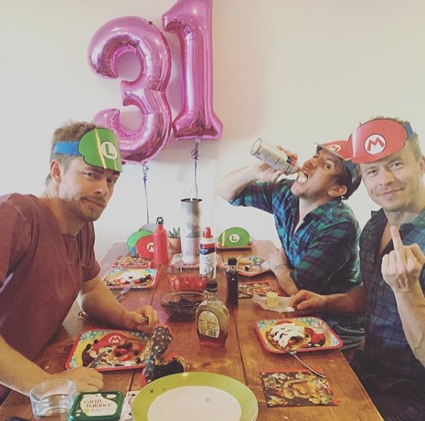Luke Mitchell, Kain O'Keeffe and Todd Lasance celebrate Luke's 31st birthday, photo by Luke's wife and fellow *H&A* alum Rebecca Breeds.