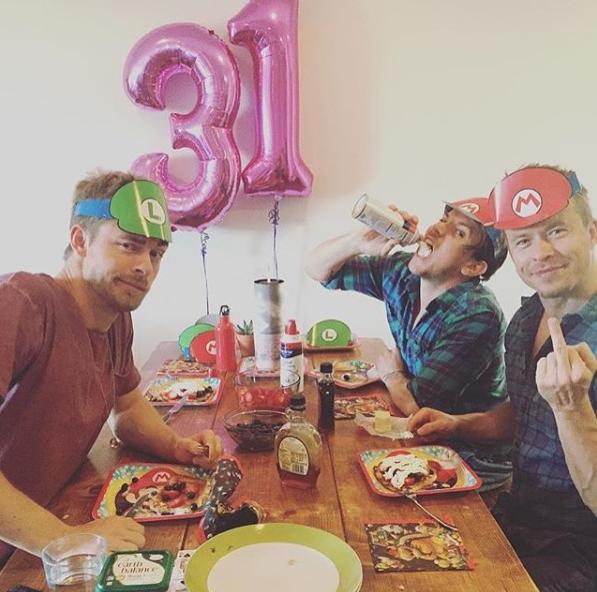 Luke Mitchell, Kain O'Keeffe and Todd Lasance celebrate Luke's 31st birthday, photo by Luke's wife and fellow *H&A* alum Rebecca Breeds.