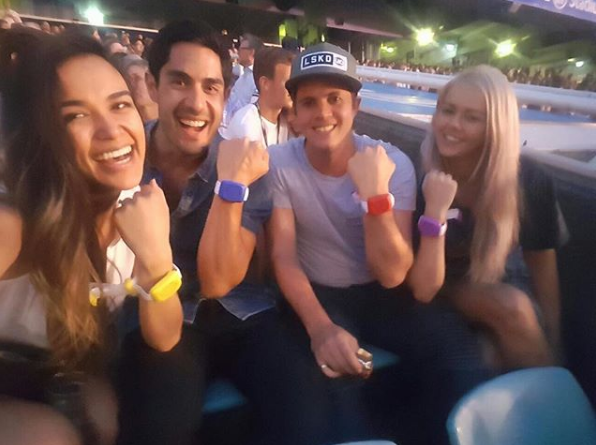 Tai Hara and Johnny Ruffo attend a concert together, with their partners Fely Irvine and Tahnee Sims.