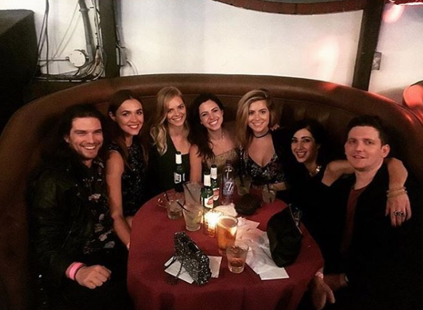 Samara Weaving shared a photo of dinner with her closest friends, including Jackson Gallagher and Demi Harmon (left).